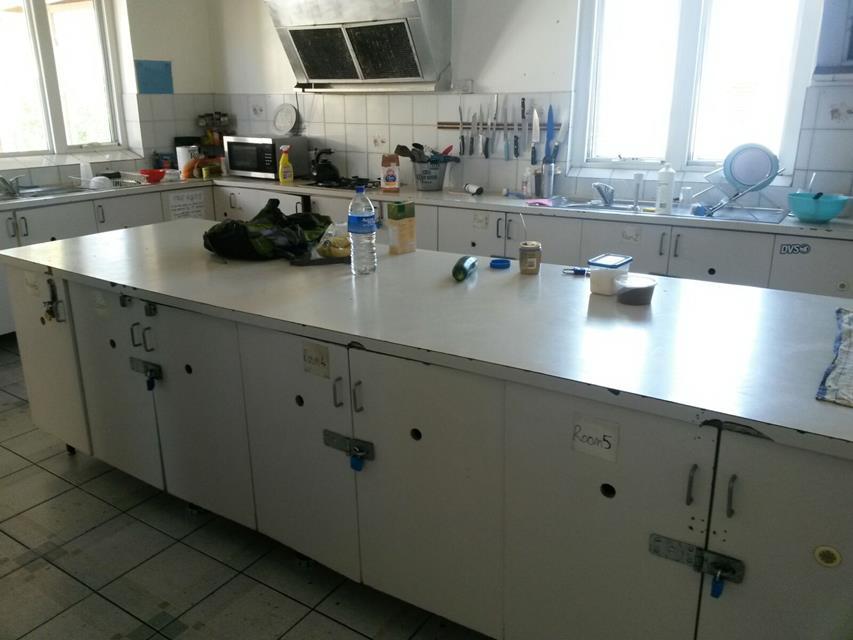 Austattung Küche im Hostel