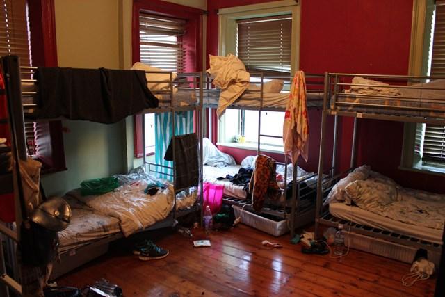 Bett im Hostel