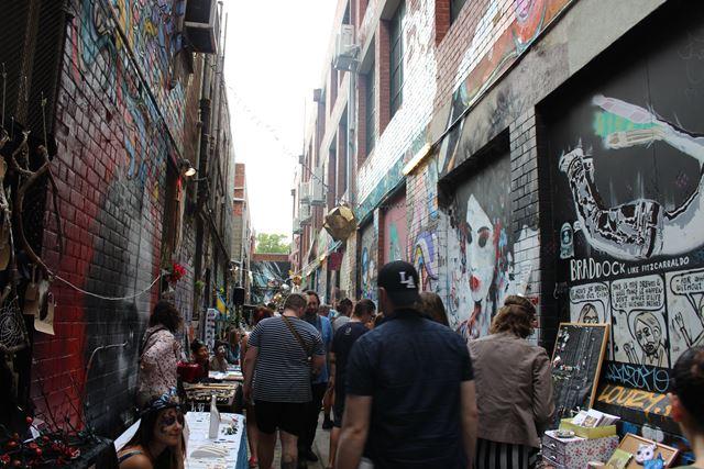 Sehr enge Gasse in Melbourne Australien