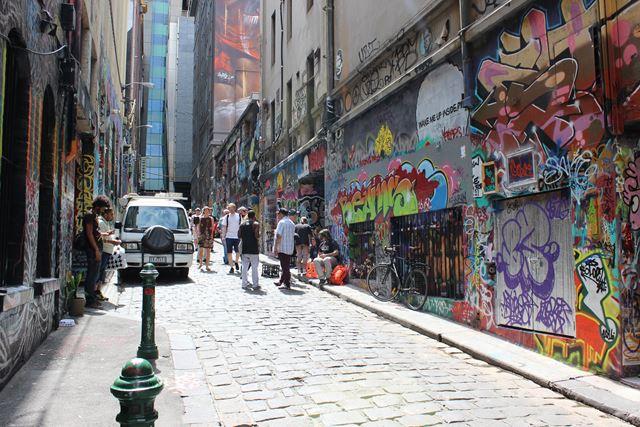 Graffit in der Gasse in Australien Melbourne